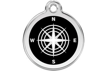 Red Dingo Enamel Pet ID Tag Compass (1CM), Large