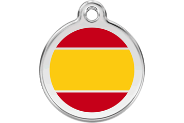 Red Dingo Enamel Pet ID Tag Spanish Flag (1ES), Large