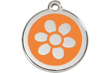 Red Dingo Enamel Pet ID Tag Flower (1FW), Small