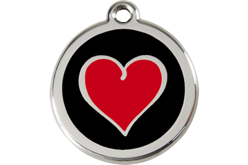 Red Dingo Enamel Pet ID Tag Heart (1HB), Large