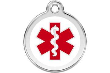 Red Dingo Enamel Pet ID Tag Medical (1MD), Small
