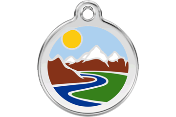 Red Dingo Enamel Pet ID Tag Mountains (1MT), Small