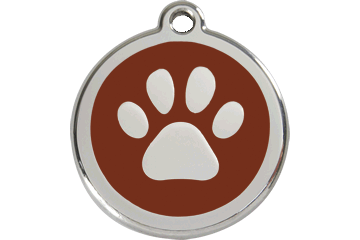 Red Dingo Enamel Pet ID Tag Pawprint (1PP), Large