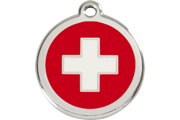 Red Dingo Enamel Pet ID Tag Swiss Cross (1SC), Large