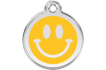 Red Dingo Enamel Pet ID Tag Smiley Face (1SM), Small