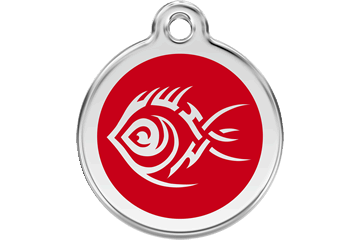 Red Dingo Enamel Pet ID Tag Tribal Fish (1TF), Small