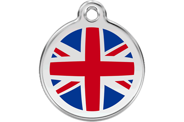 Red Dingo Enamel Pet ID Tag UK Flag (1UK), Large