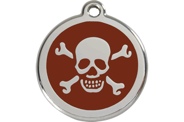 Red Dingo Enamel Pet ID Tag Skull & Cross Bone (1XB), Medium