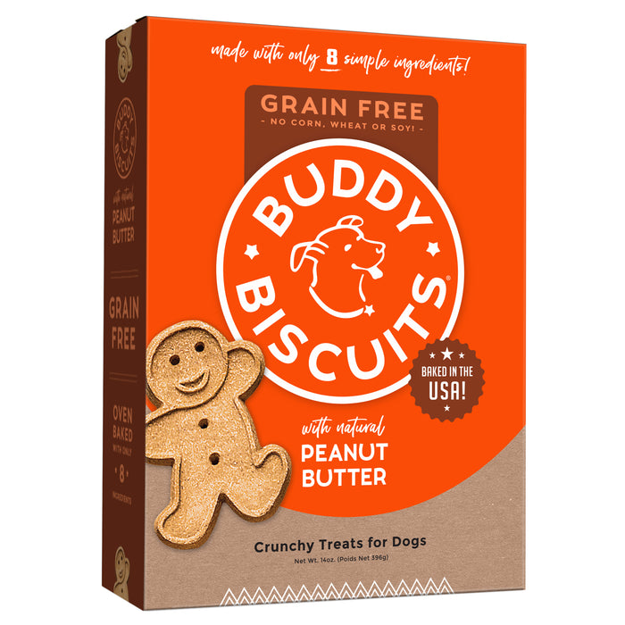 Buddy Biscuit Oven Baked Dog Grain Free Treats Peanut Butter, 14oz