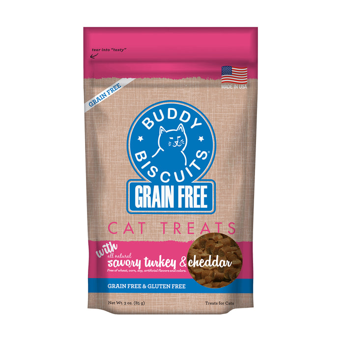 Buddy Biscuit Soft & Chewy Cat Grain Free Treats Turkey Cheddar