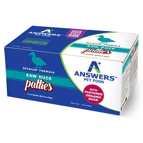 Answers Detailed Dog Frozen Raw Food Patties Duck