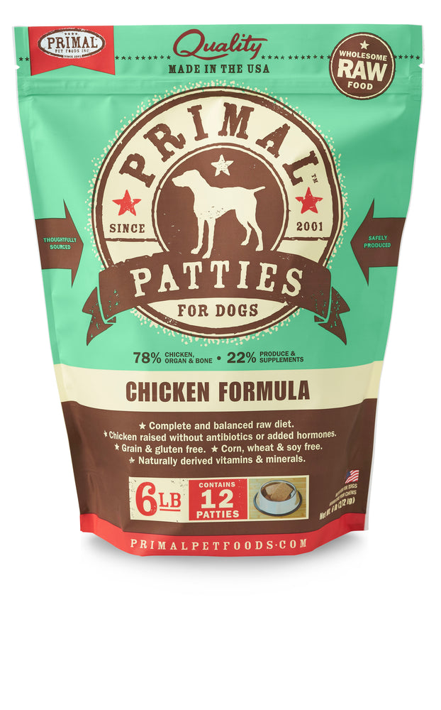 Primal Dog Frozen Raw Food Patties Chicken