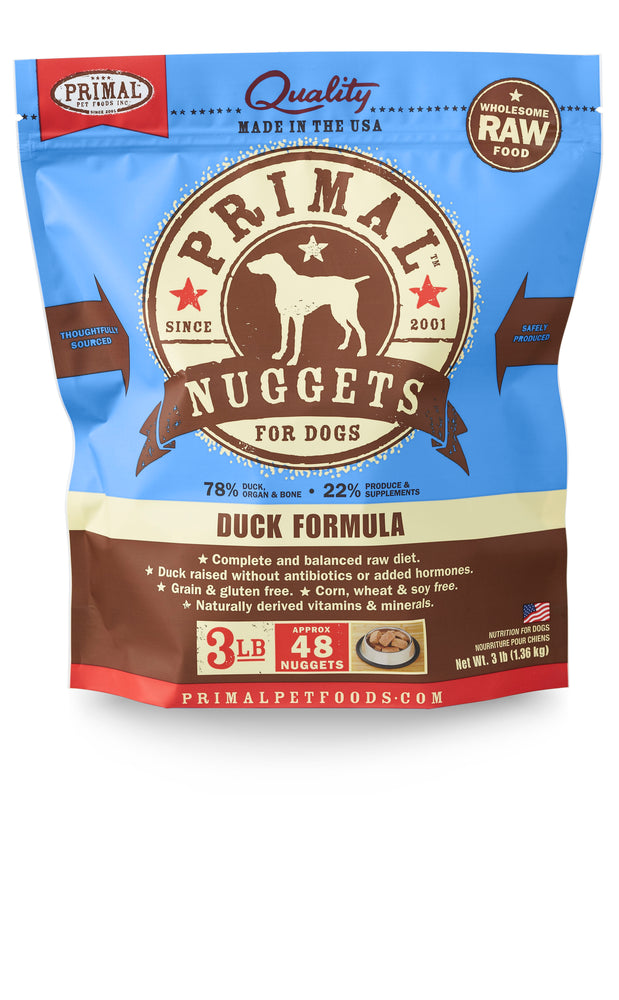Primal Dog Frozen Raw Food Nuggets Duck