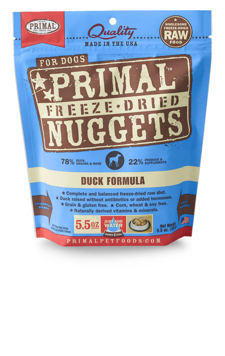Primal Dog Freeze Dried Food Nuggets Duck