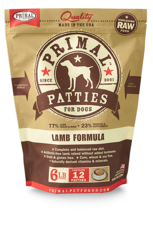 Primal Dog Frozen Raw Food Patties Lamb