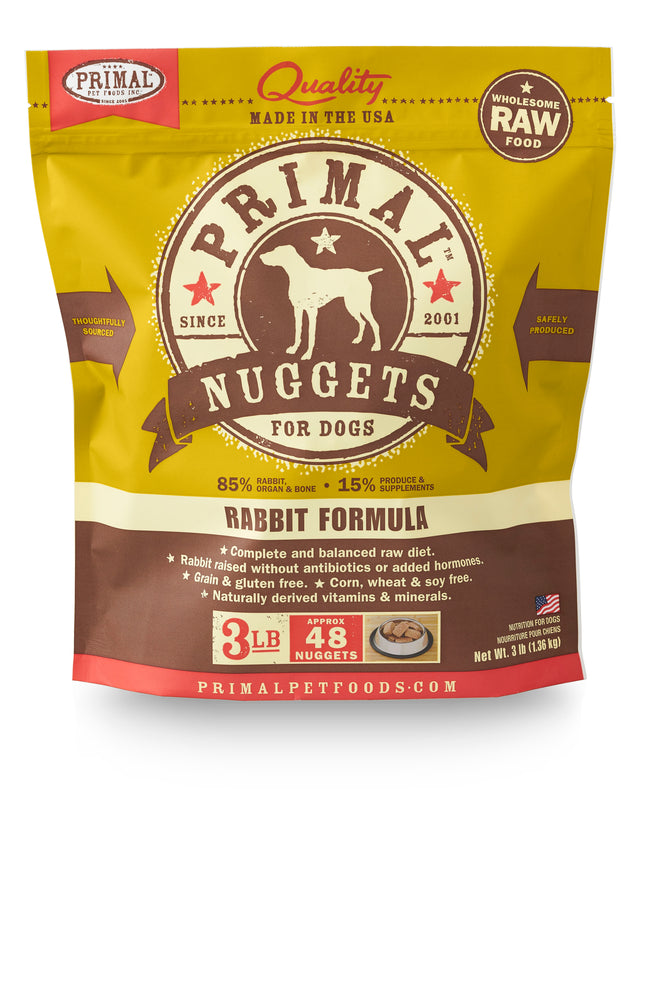 Primal Dog Frozen Raw Food Nuggets Rabbit