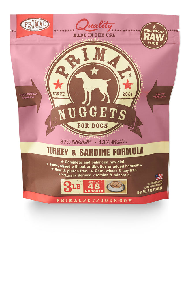 Primal Dog Frozen Raw Food Nuggets Turkey & Sardine
