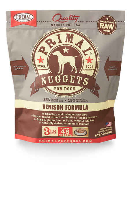 Primal Dog Frozen Raw Food Nuggets Venison