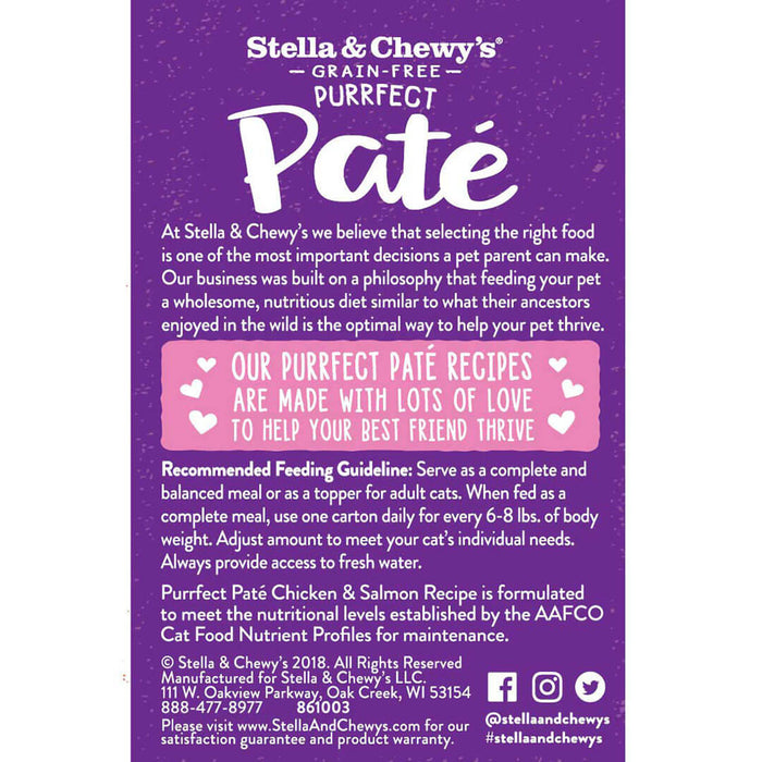 Stella & Chewy's Purrfect Cat Wet Food Pate Chicken & Salmon 5.5oz
