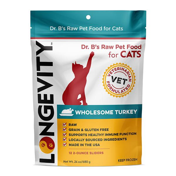 Dr.B's Longevity Frozen Raw Cat Food Sliders Turkey