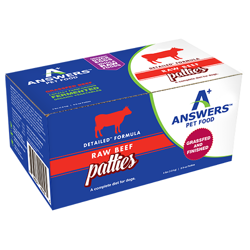 Answers Detailed Dog Frozen Raw Food Patties Beef, 4lb