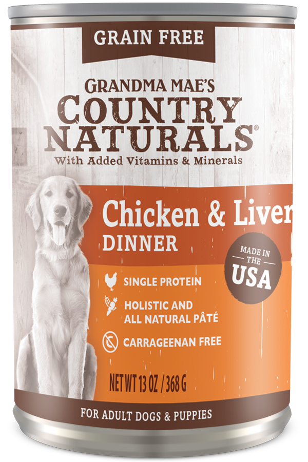 Grandma Mae's Country Natural Dog Grain Free Can Food Chicken & Liver