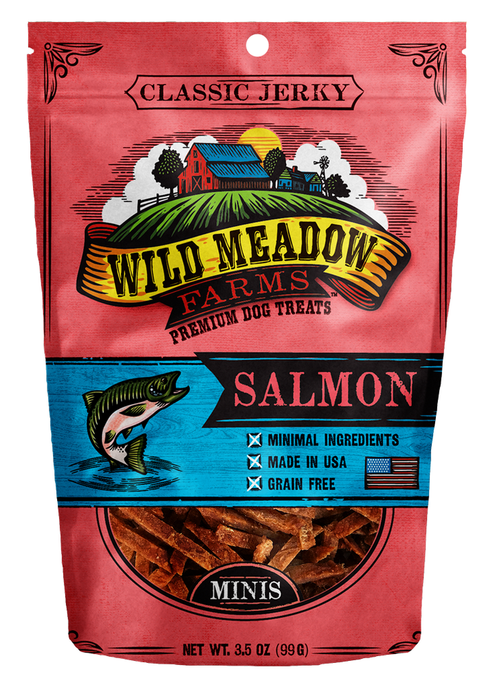 Wild Meadow Farms Dog Jerky Treats Salmon Bites, 3.5oz