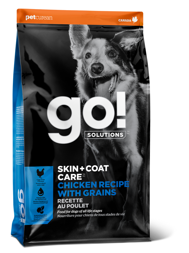 Petcurean GO! Skin & Coat Care Grains Dog Dry Food Chicken