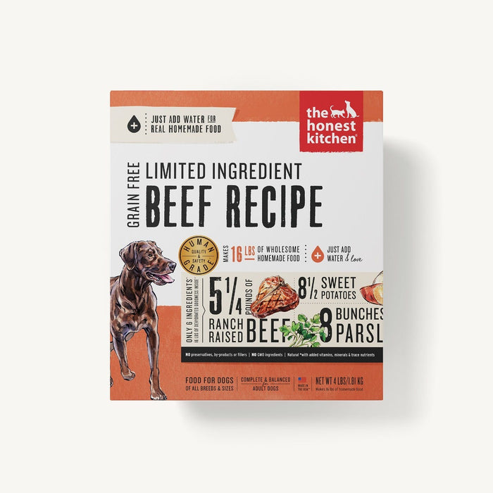 The Honest Kitchen Grain Free Limited Ingredient Dog Dehydrated Food Beef & Chickpea (Hope), 4lb