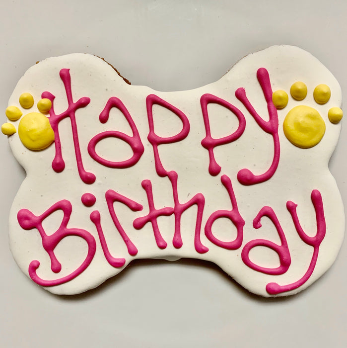 """Happy Birthday"" Bone Shaped Cookie"