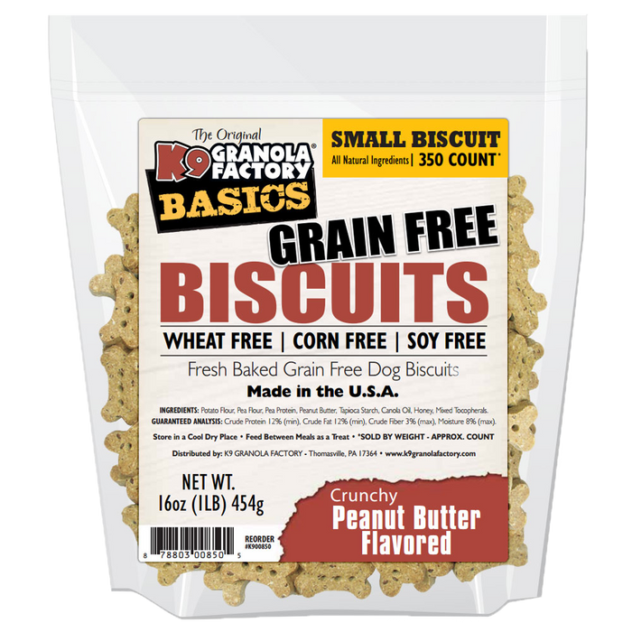 K9 Granola Grain Free Simply Biscuits Crunchy Peanut Butter Small Size