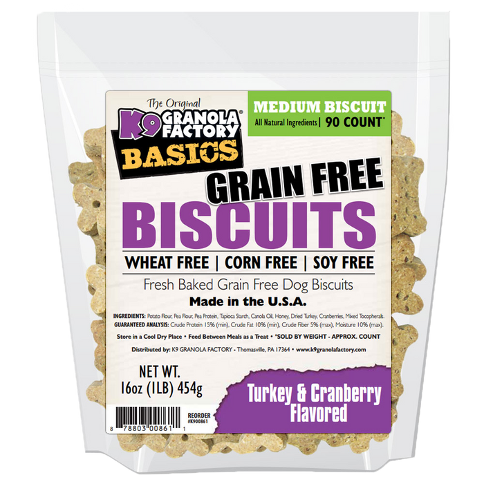 K9 Granola Grain Free Simply Biscuits Turkey & Cranberry Medium Size