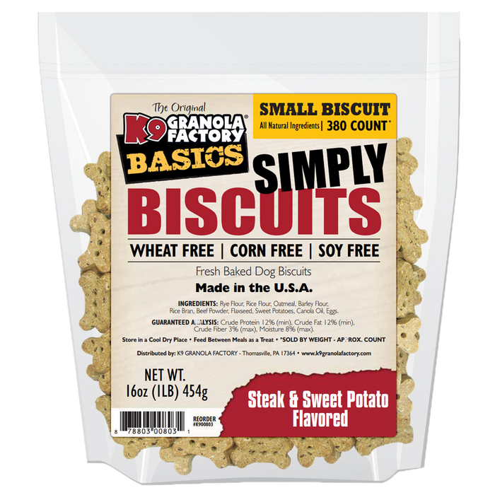 K9 Granola Dog Treats Simply Biscuits Steak & Potato Small Size