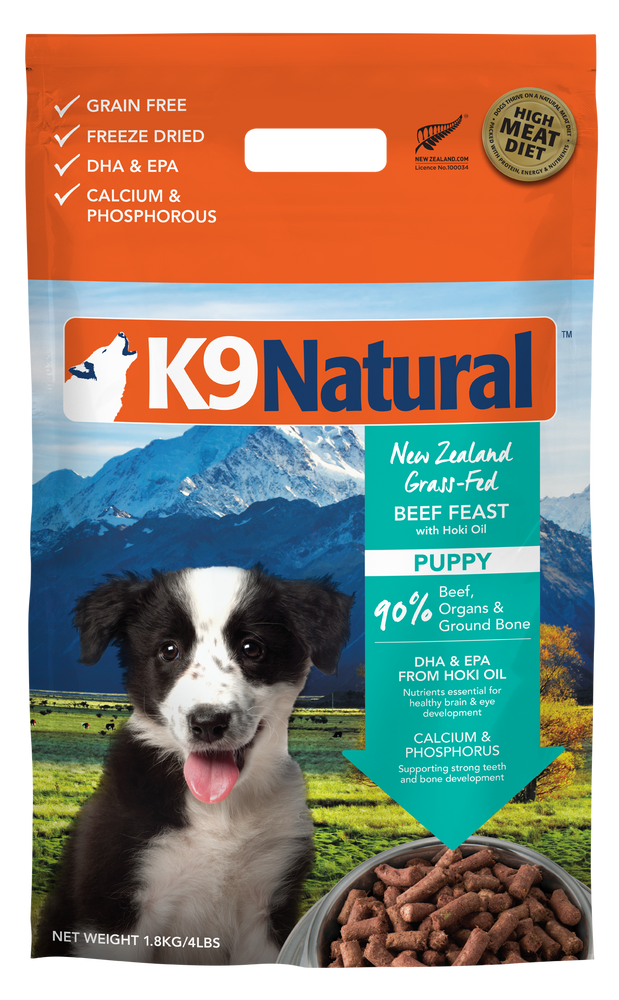 K9 Natural Dog Freeze Dried Food Puppy Beef & Hoki