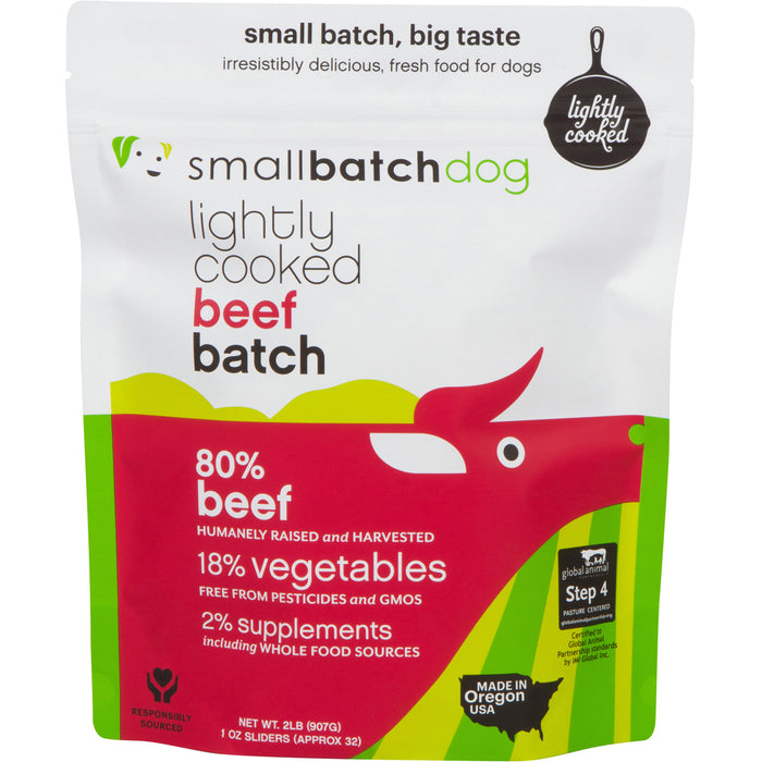 Small Batch Dog Frozen Lightly Cooked Food Beef, 2lb