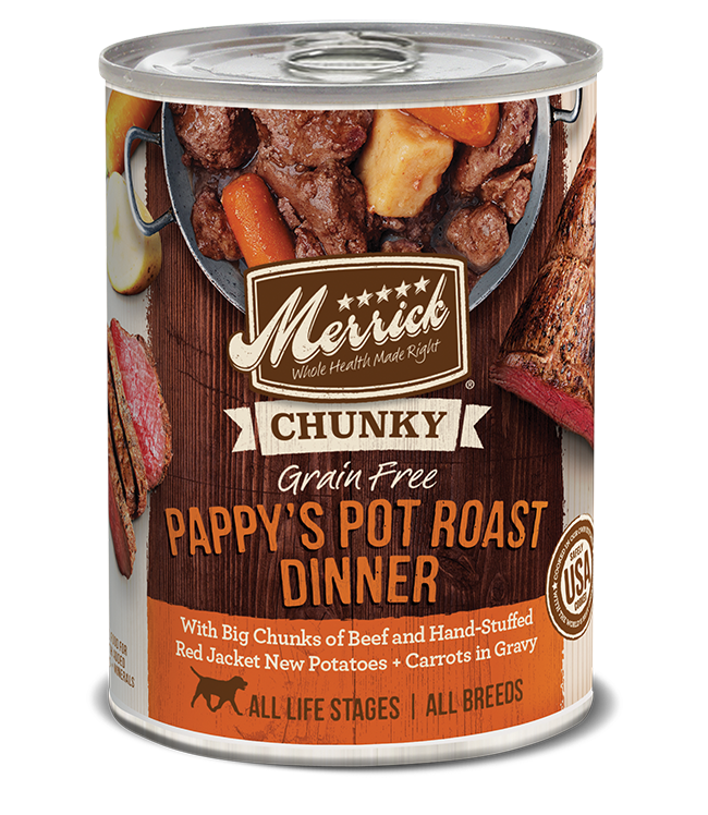 Merrick Classic Grain Free Dog Can Food Chunky Pappy Pot Roast