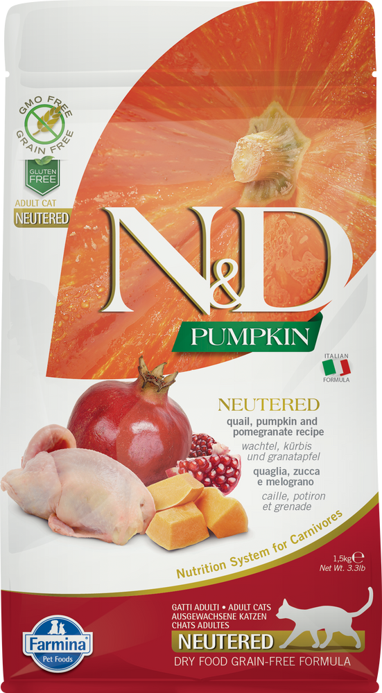 Farmina N&D Pumpkin Grain Free Cat Dry Food Quail & Pomegranate Neutered