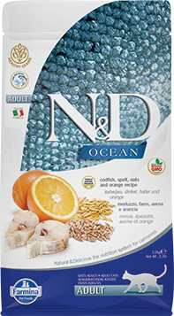 Farmina N&D Ancestral Grains Cat Dry Food Ocean Cod Oats & Orange