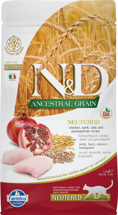 Farmina N&D Ancestral Grains Cat Dry Food Chicken & Pomegranate Neutered