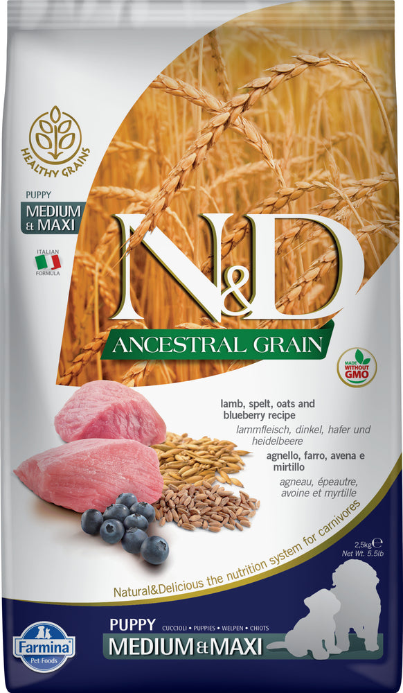 Farmina N&D Ancestral Grains Dog Dry Food Lamb & Blueberry Puppy Medium