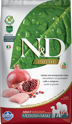 Farmina N&D Prime Grain Free Dog Dry Food Chicken & Pomegranate Adult Med/Maxi