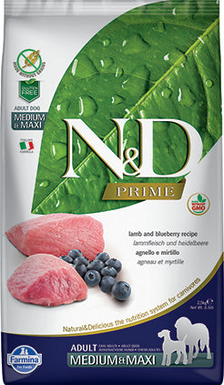 Farmina N&D Prime Grain Free Dog Dry Food Lamb & Blueberry Adult Med/ Maxi