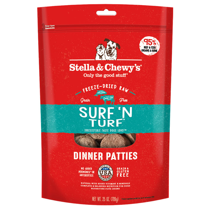 Stella & Chewy's Dog Freeze Dried Food Dinner Patties Surf & Turf