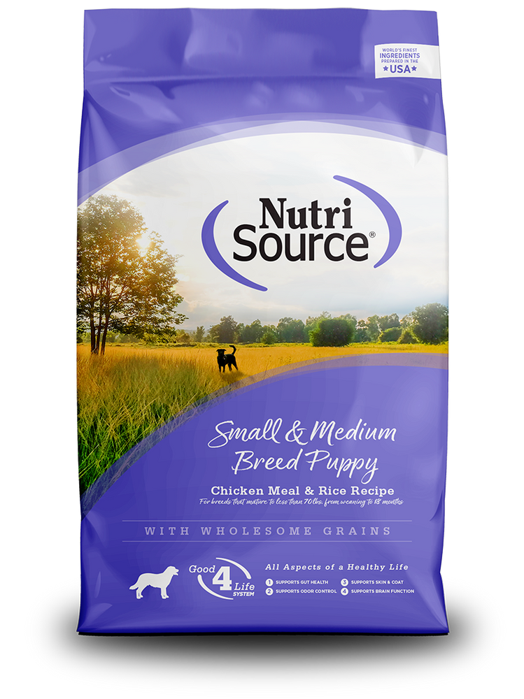 NutriSource Dog Grains Dry Food Chicken & Rice, Puppy, Small/Medium Breed