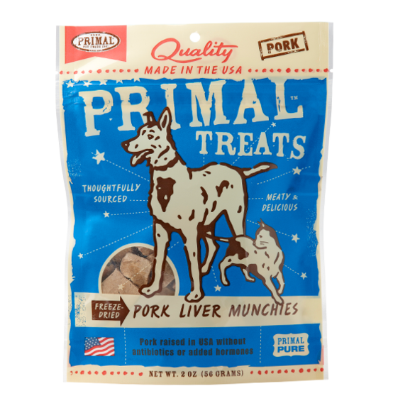 Primal Freeze Dried Dog Treats Munchies Pork Liver