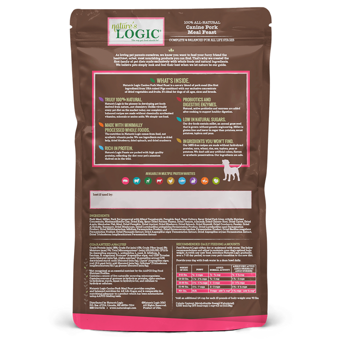 Nature's Logic Original Grains Canine Dry Food Pork Meal Feast