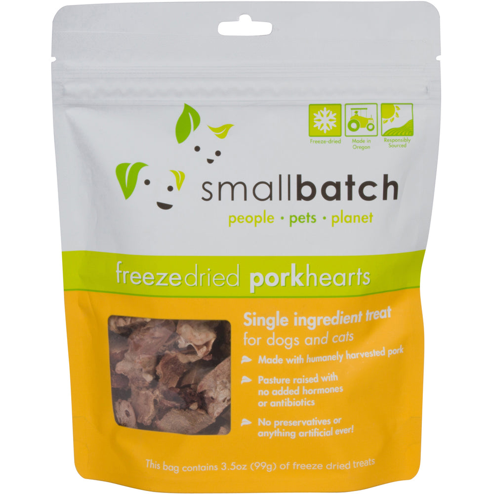 Small Batch Freeze Dried Treats Pork Hearts, 3.5oz