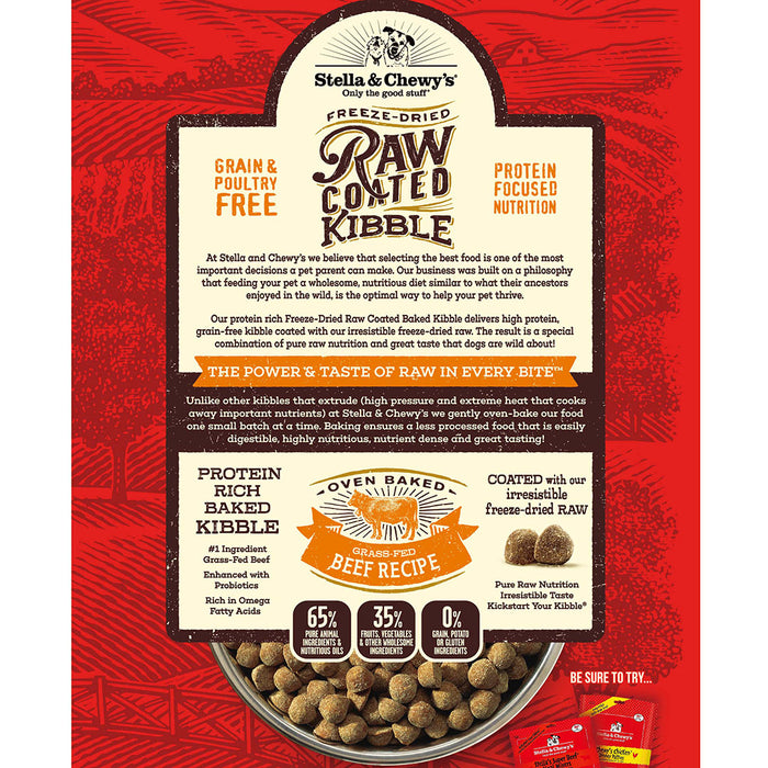 Stella & Chewy's Raw Coated Grain Free Dog Dry Food Grass-Fed Beef