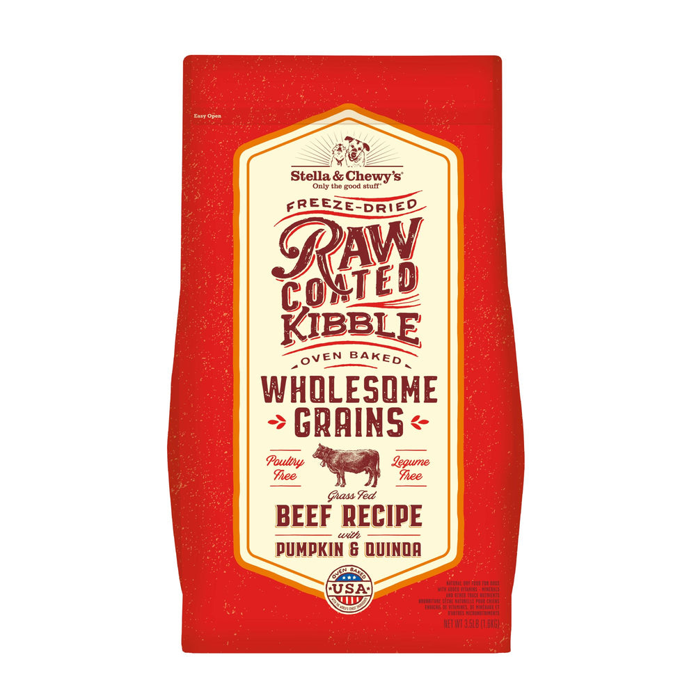 Stella & Chewy's Raw Coated Wholesome Grains Dog Dry Food Grass-Fed Beef, Pumpkin, & Quinoa