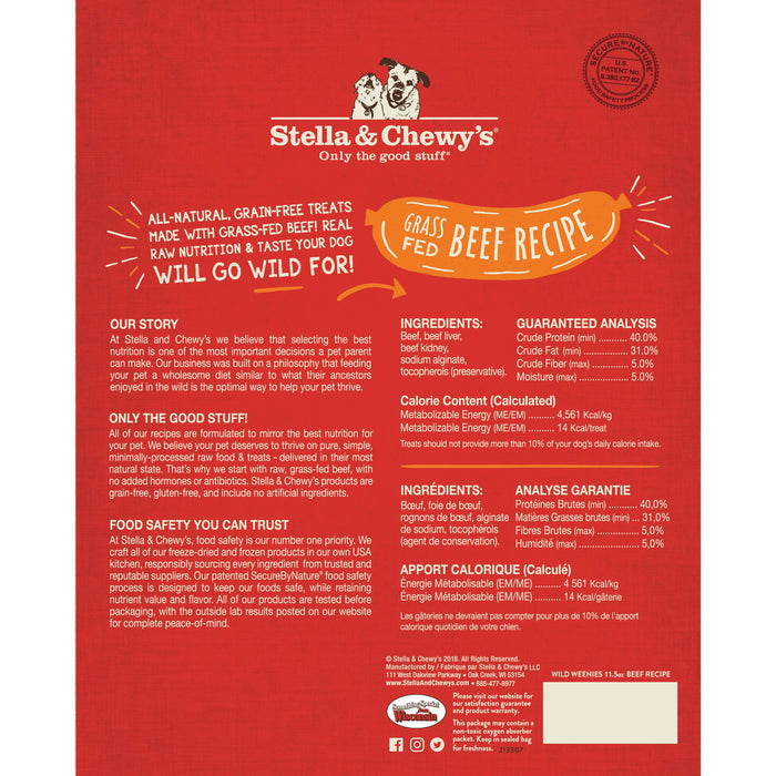 Stella & Chewy's Dog Freeze Dried Wild Weenies Treats Beef Recipe
